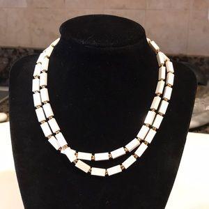 Vintage Monet White Lucite & Gold Necklace